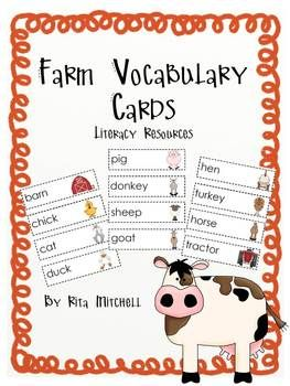 Resources for your word/letter wall, literacy center, and writing center. This is a set of 28 farm vocabulary cards.