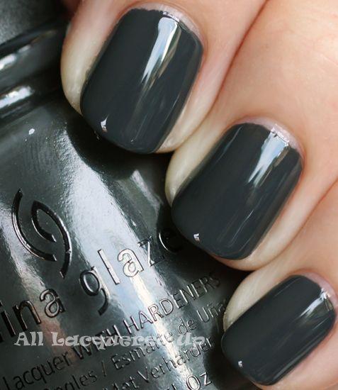 China Glaze Concrete Catwalk - dark grey cremeNail Polish, Fall Nails, China Glaze, Dark Gray Nails, Dark Shades, Gel Nails Dark Grey, Nails Polish, Beautiful Life, Concrete Catwalks