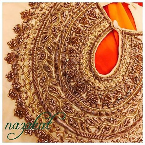 "We are loving the season ❤️ all things beautiful! Another pretty piece in process with the bling of golden zardozi work for a very special client We will be posting more pictures soon! We take custom orders too, we can take inspiration from this and create something new for you! Colour can be customised DM or whatsapp for details Shipping worldwide For more designs and updates you can now follow us on facebook at: www.facebook.com/nazakatjal or simply click on the link in our ""BIO"" #..."
