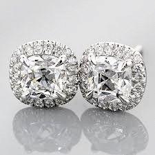 4CT Cushion Cut Halo Russian Lab Diamond Stud Earr…