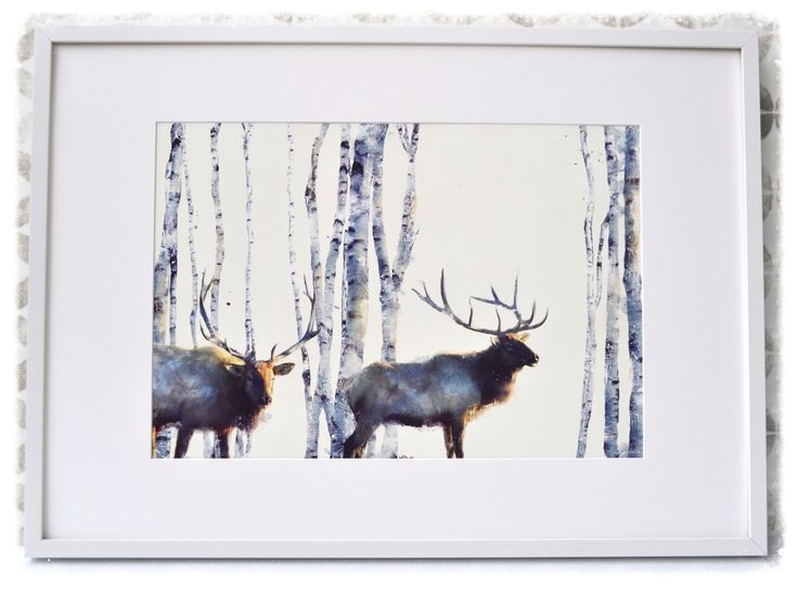 Seekers of the Dawn's simple yet striking winter forest scene makes this artwork the focal point of any room. Available at www.dalaur-creative.com #Elk #Winter