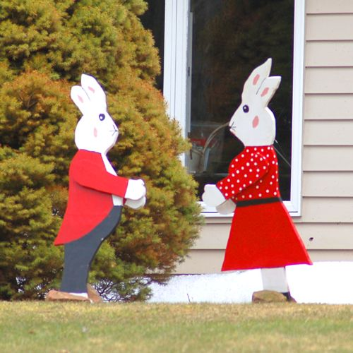 Outdoor Easter Decorations | Picture of Easter Bunny couple cutouts.