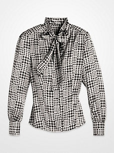 Steve Harvey Royal Blue and Black Houndstooth Tie-Neck Blouse: Blouse Pinterest, Black Houndstooth, Marketing Tips, Harvey Royal, Houndstooth Tie Neck, Mens Ties, Royal Blue, Pinterest Marketing