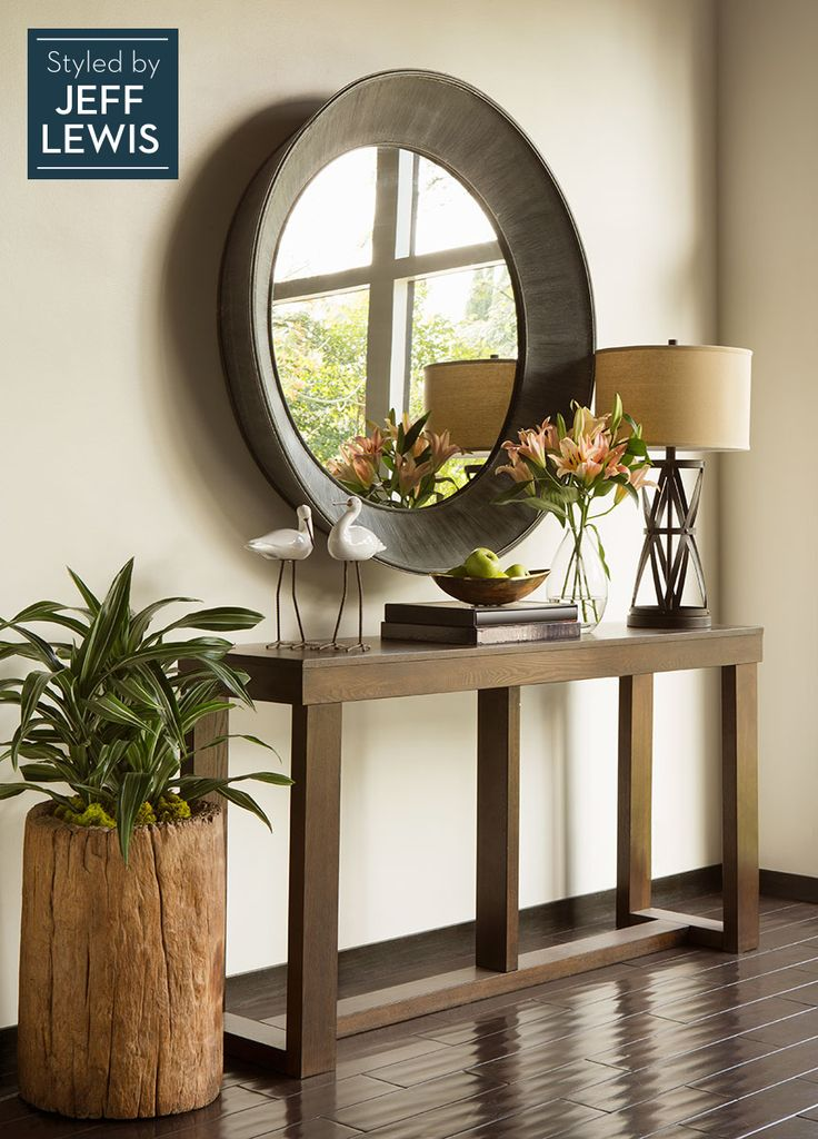 Styled with items that bring the outside in, the Watson sofa table is an inviting addition to an entryway or simple and sophisticated against an accent wall. #styledbyjefflewis