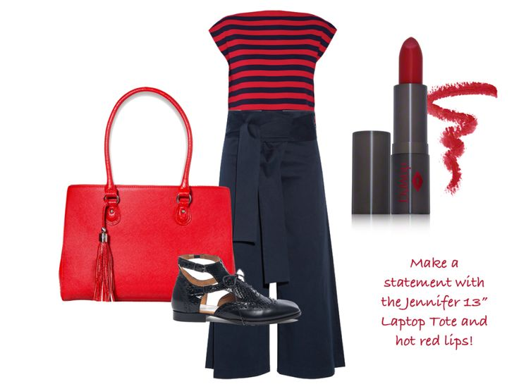 A key silhouette this season, Tibi's palazzo-style pants will look fabulous worked back with this Miu Miu top, Maison Margiela shoes and our stunning Jennifer 13 Inch Laptop Tote for women. Finish the look with hot red lips.