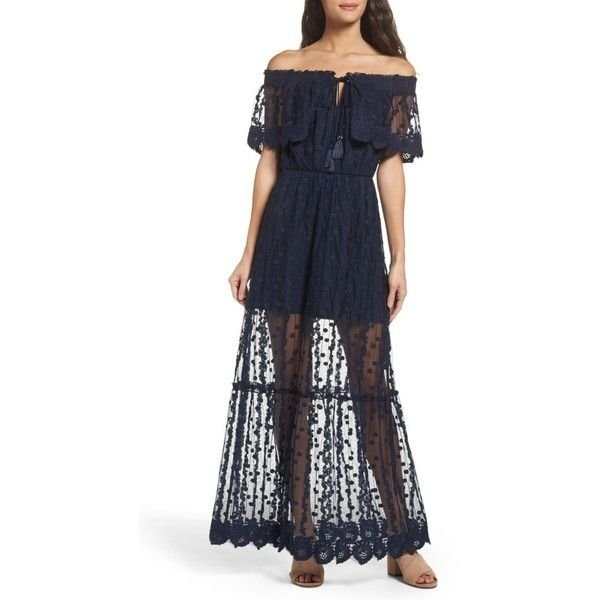 Women's Adelyn Rae Josephine Off The Shoulder Lace Maxi Dress ($138) ❤ liked on Polyvore featuring dresses, navy, navy blue maxi dress, navy lace cocktail dress, bohemian maxi dresses, navy maxi dress and lace maxi dress