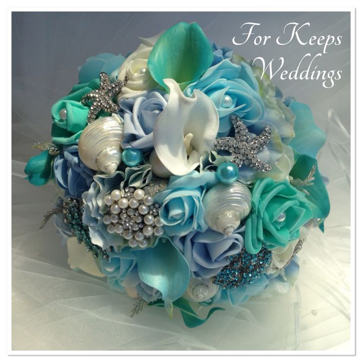 Stunning wedding bouquet for a destination wedding. Beautiful polished shells, pearl and diamante starfish - perfect for the beach! www.forkeepsweddings.co.uk