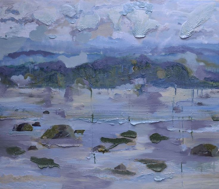Heavy Day.  Oil on canvas.  32 x 42 inches.  Sold.  This is a landscape painting of a view from Savary Island to the mainland.  It is set at low tide, you can see the rocks in the foreground, the hills in the distance and the heavy clouds above.  My process is to work from memory, using a photograph as a jumping off point.  This could be almost any place on the Sunshine Coast on the West Coast of British Columbia.