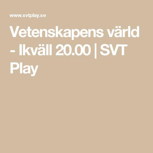 Vetenskapens värld - Ikväll 20.00 | SVT Play