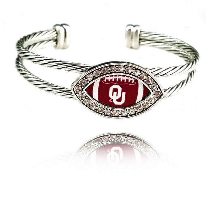 University Of Oklahoma Sooners Football Bangle Bracelet Silver Plated Oklahoma Sooners