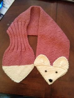 Hand Knit Fox Scarf Rose neck warmer by QuiltNCrochet on Etsy