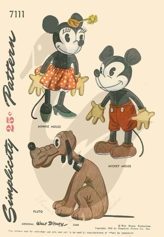 Mickey and Minnie Mouse and Pluto Doll by VintageSewSimplySewn, £5.99