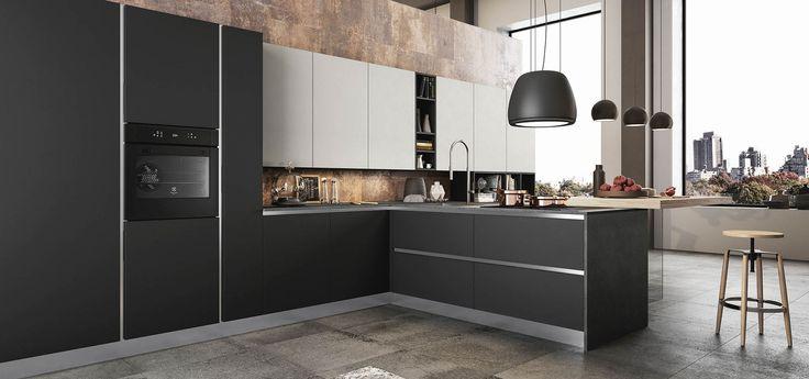 Cucina moderna time finiture nero opaco nebbia opaco top laminato porfido nero piano - Cucine in linea moderne ...