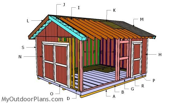 14x18 Gable Shed Plans Myoutdoorplans Free Woodworking Plans And Projects Diy Shed Wooden Playhouse Pergola Bbq In 2020 Diy Shed Shed Plans Wood Shed Plans