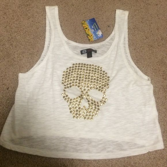 Perfect New Skull white JJ loose crop tank top  Present?? 54 days til Christmas!! Perfect loose crop white burnout tank with skull in gold studs. Mint condition with tags! Not from Nordstrom.                              Tags: holiday Christmas present, discount, flash, free, daily deal, hp pick, follow game, small, medium, large. Coverup, sheer, mesh, fishnet. Tags: , Venus swimwear, bebe, pacsun, Roxy, express, Las Vegas. Macys, Brandy Melville, LF, bride, bachelorette, bridal shower…