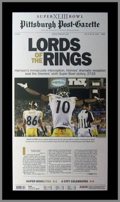 Pittsburgh Steelers Wood Mounted Poster Print - Lords - Holmes - Super Bowl 43 XLIII