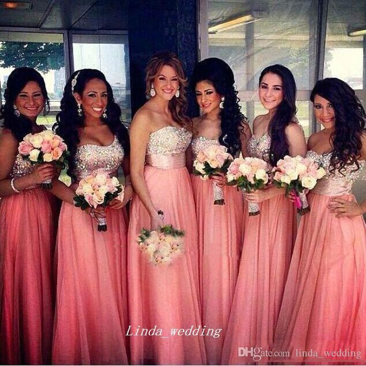 Coral Bridesmaid, Sweetheart Long Chiffon Bridesmaid Dresses | Food ...