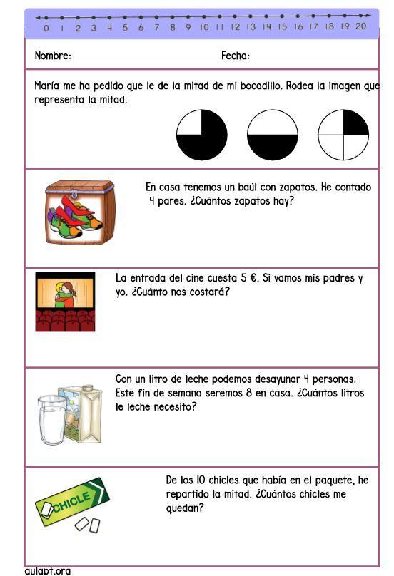 Nuevo cuadernillo de problemas para 1º de primaria. En el documento que podréis descargar en el flecha encontraréis 6 páginas con 5 problemas en cada