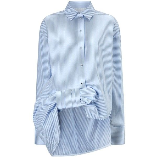 Victoria Victoria Beckham White Cotton Gathered Striped Shirt (€480) ❤ liked on Polyvore featuring tops, blue, long sleeve tops, white long sleeve shirt, blue striped shirt, oversized long sleeve shirt and white top
