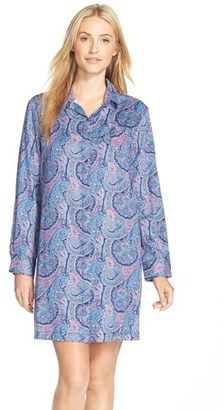 Lauren Ralph Lauren Lauren Ralph Lauren Long Sleeve Sateen Sleep Shirt - Shop for women's Shirt - Maddox Paisley Blue Multi Shirt