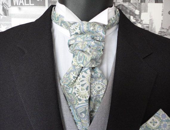 Scrunchy Wedding Cravat pastel paisley cravat groomsmen tie