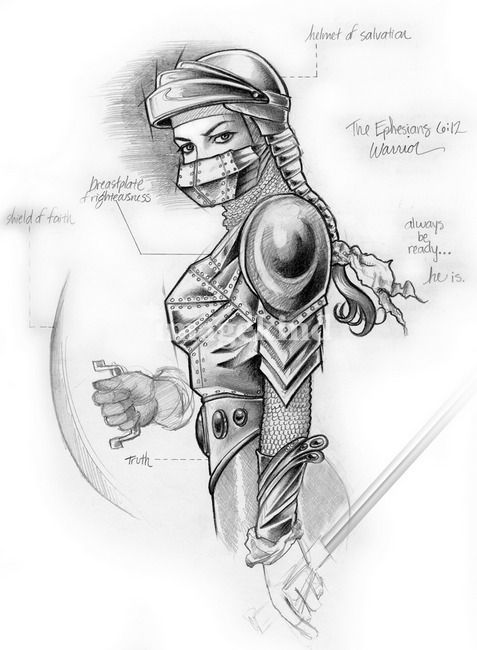 Woman in Armor of God.  I used this as a visual aid when I taught Ephesians 6 today.