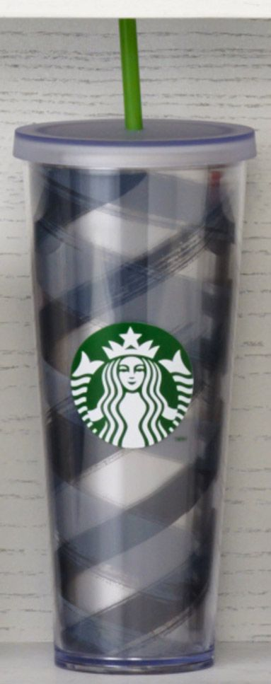 Acrylic Cold Cup with crossing bands of black and grey over a silver inner liner. #Starbucks #DotCollection