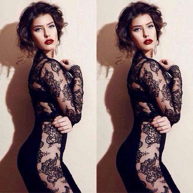Model Alice Peneaca looking confidence in our dress