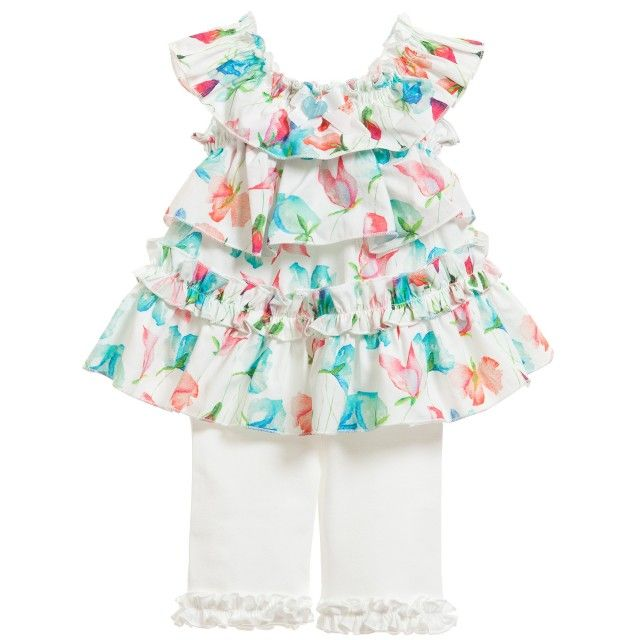 Balloon Chic - Baby Girls Floral Blouse with White Leggings | Childrensalon