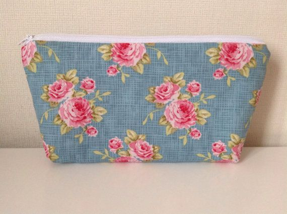 Teal cosmetic bag  Tilda cabbage roses  by HomeChicHomeGifts