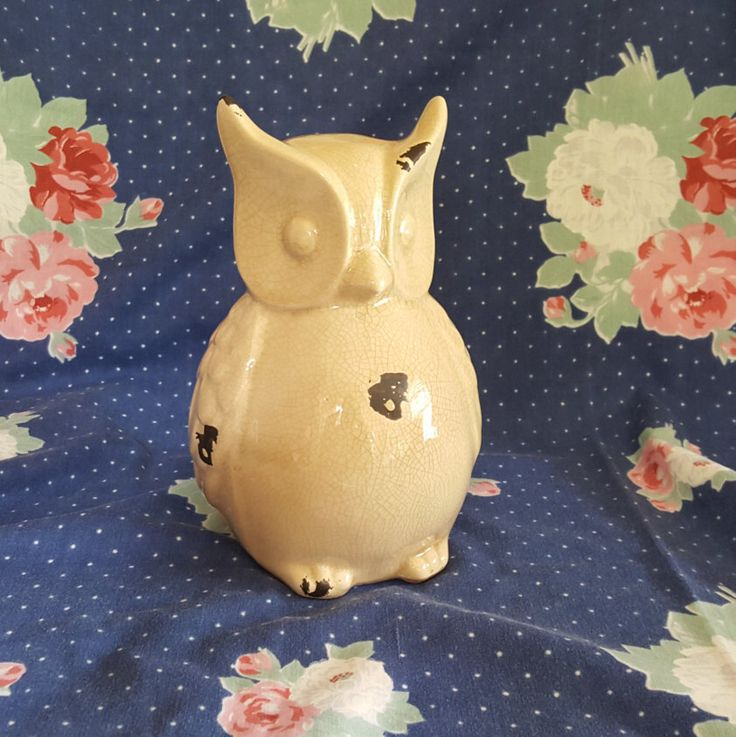 Large Ceramic Owl Statue with Cream Colored Crackle Glaze Finish by CocoaTeaByTheSea on Etsy https://www.etsy.com/listing/464473741/large-ceramic-owl-statue-with-cream