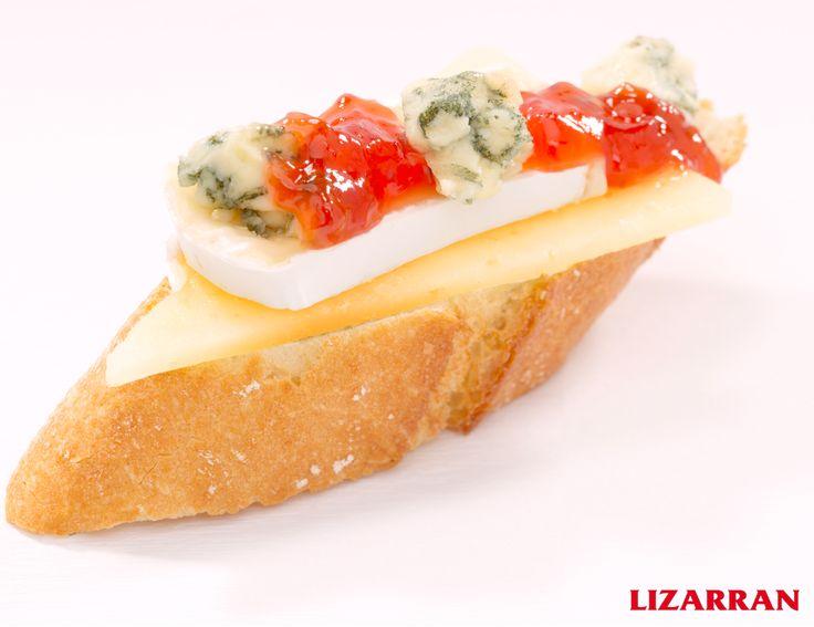 Tres quesos con mermelada #Lizarran #Pinchos