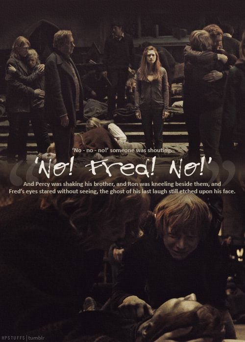 """No - no - no!"" someone was shouting.  ""No!  Fred!  No!""  And Percy was shaking his brother, and Ron was kneeling beside them, and Fred's eyes stared without seeing, the ghost of his last laugh still etched upon his face."