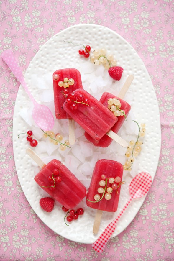 Watermelon, raspberry, & currant pops
