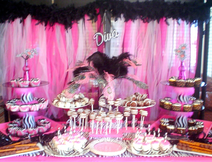 diva birthday party   Red Velvet cake balls dipped in dark chocolate and drizzled in white ...