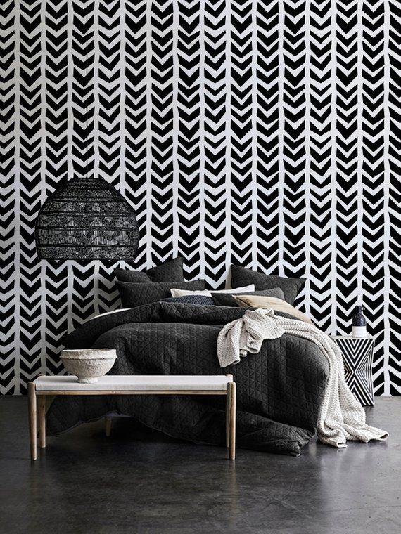 Black And White Herringbone Wallpaper Chevron Wall Decor Peel And Stick Self Adhesive Decal Geometric Herringbone Wallpaper Chevron Wall Decor Chevron Wall