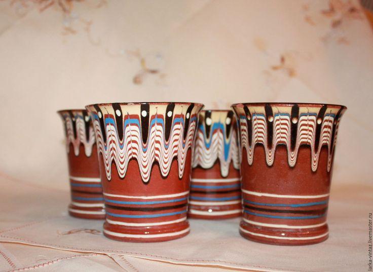 """Купить Стаканы """"Расписные"""", керамика, СССР - коричневый, кружка, кружка купить, купить кружку"""