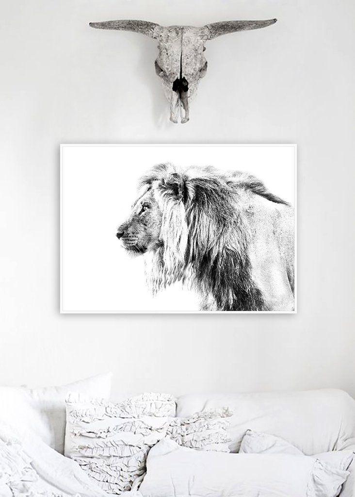$159 Lion Black & White Wooden Framed Wall Art