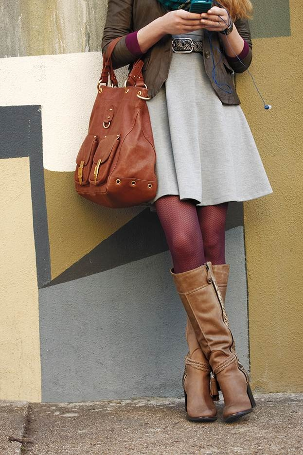 Fall Outfit Dark Brown Leather Jacket Light Grey Dress