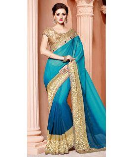 Stunning Blue And Beige Silk Saree.