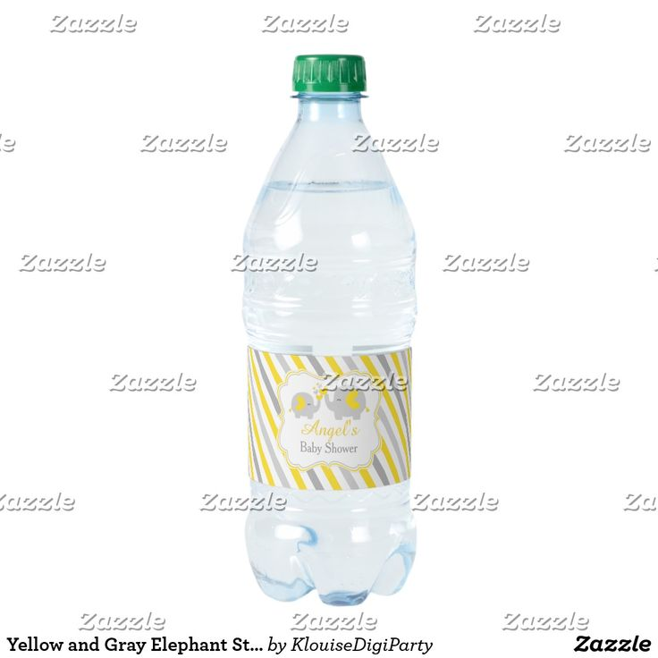 Yellow and Gray Elephant Stripes Baby Shower Water Bottle Label
