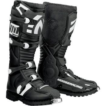 "MOOSE RACING M1.2 BLACK ATV BOOTS Genuine split grain leather chassis with polyurethane coating for long lasting durability. Contoured thermoplastic polyurethane shin, ankle, and a low profile toe plate for abrasion resistance. ""VISIT SITE"" ABOVE FOR ALL INFO."
