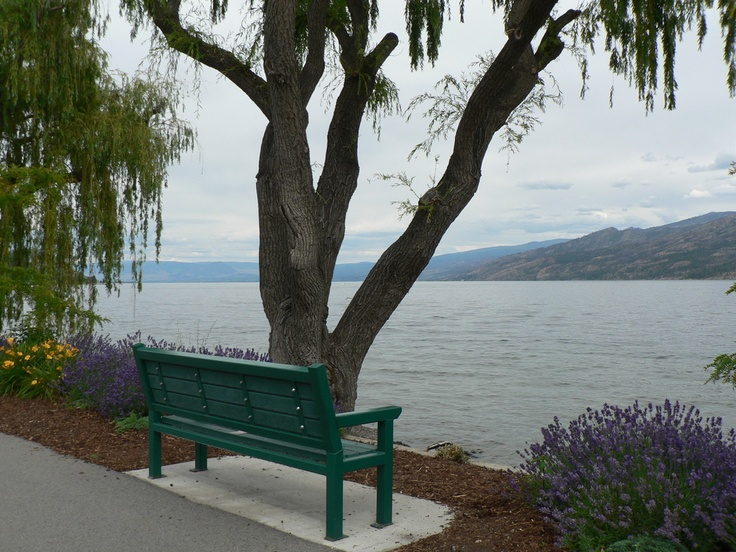 Okanagan Lake in Peachland , B.C. :: Overlooking the Okanagan Lake from Peachland , B.C. Calm waters from the park bench. Photo by Darlene    My Neighbourhood Restaurant Kelowna Summer Photo Contest  www.myneighbourhoodrestaurant.ca