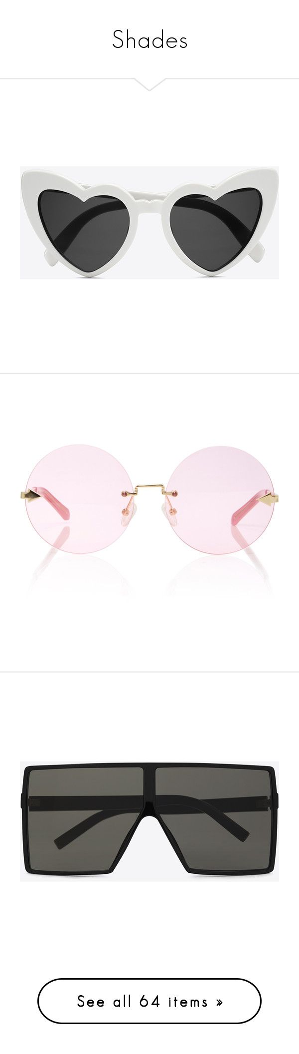 """""""Shades"""" by maryisnotmyname ❤ liked on Polyvore featuring accessories, eyewear, sunglasses, oversized glasses, oversized sunglasses, over sized sunglasses, heart shaped glasses, heart sunglasses, glasses and pink"""