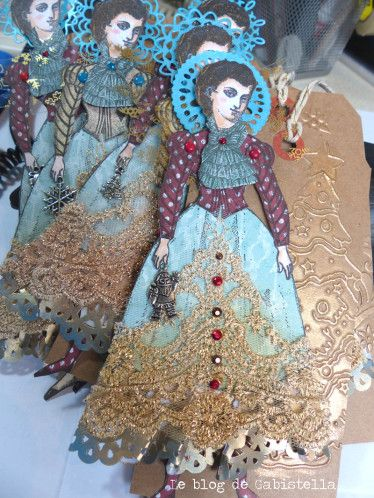 Christmas Angel paper dolls by Parisienne artist Vilma Gasnier working with Character Constructions art stamps multiple collections.