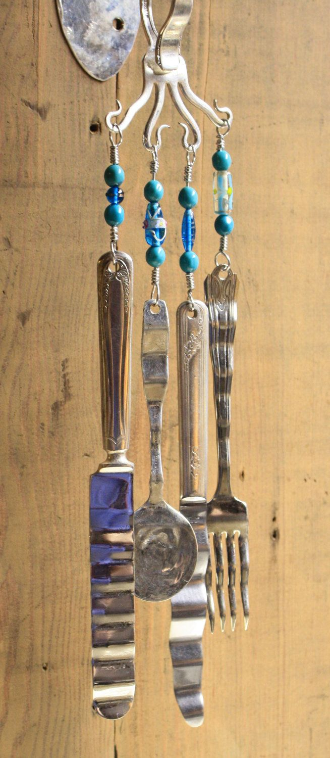 286 best images about silverware utensil crafts on for Wind chimes out of silverware