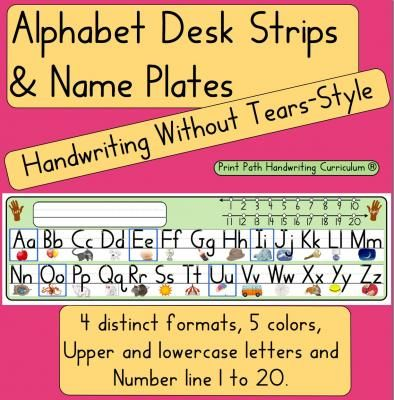Handwriting Without Tears style: Desk Strips & Nameplates ...