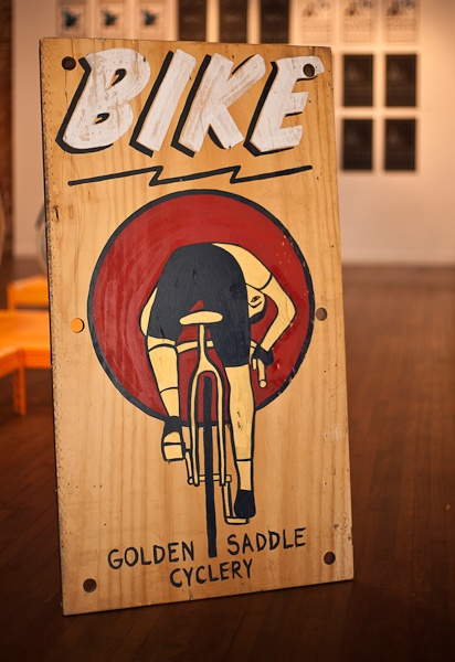 Cari Carmean hand painted sign for Golden Saddle Cyclery (Silverlake, CA).