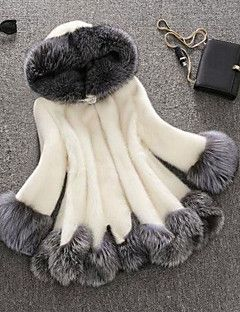 Women's+Plus+Size+Sophisticated+Fur+Coat,Solid+Hooded++Fall+/+Winter+White+/+Black+Faux+Fur+/+Raccoon+Fur+Thick+Tops+–+USD+$+69.99