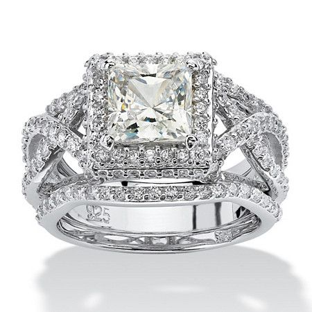 3 Piece 2.82 TCW Princess-Cut CZ Bridal Ring Set in Platinum over Sterling Silver